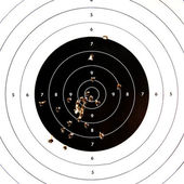 Sport shooting circle target accuracy bullet hole — Stock Photo