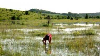 Boy on a flooded meadow, swamp boy explores, wild nature — Vídeo de Stock