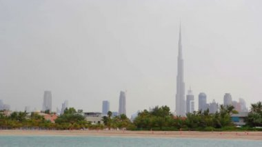 Dubai.UAE.Burj Khalifa,The Dubai Mall  in February 2014.Jumeirah beach promenade. — Stock Video