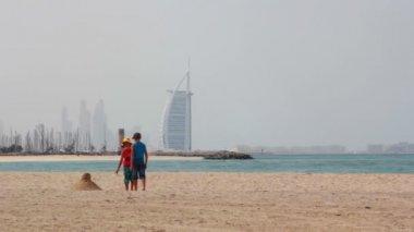 Dubai.UAE.Burj Al Arab in February 2014.Jumeirah beach promenade.Dubai Offshore SailingClub. — Stock Video