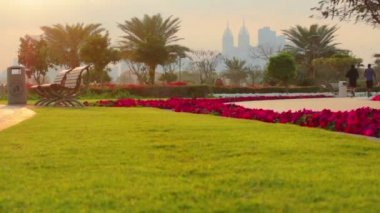 Dubai.UAE.Golden Tulip-Al Barsha in February 2014.Al Barsha Pond Park. — Stock Video