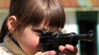 Boy with gun,boy playing weapon,little warrior — Vídeo Stock