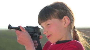 Boy with gun,boy playing weapon,little warrior — Video Stock