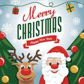 Merry Christmas - Santa Claus an Rudolph Raindeer — Stock Vector