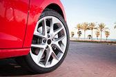 Car wheel in summer — Stock Photo