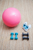Swiss ball fitness — 图库照片
