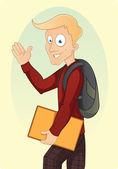 Cartoon school jongen komt naar school — Stockvector