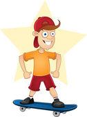 Cartoon skater boy driving skateboard — Stock Vector