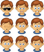 Boy expressions set — Stock Vector