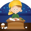 Cartoon cute little boy drawing a picture in his room — Stock Photo #43090607