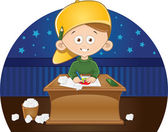 Cartoon cute little boy drawing a picture in his room — Stock Photo