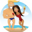 Vector cartoon sexy guy and girl on the beach — Stock Photo #46830355