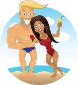 Vector cartoon sexy guy and girl on the beach — Stock Photo