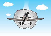 Vector cartoon biplane on the sky with clouds — Stockvector