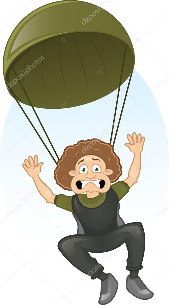 Paracaidista miedo vector de dibujos animados archivo - Dessin parachutiste ...