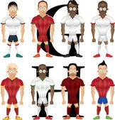 Vector ilustración de dibujos animados de futbolistas, aislado — Vector de stock