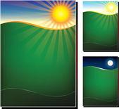 Vektorové ilustrace zelené pole ve 3 variantách — Stock vektor