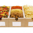 Assorted pastas in wooden box — ストック写真