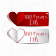Stock Vector: Red paper Valentines day card