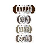 Happy new year 2014 greeting card design. — Stock Vector