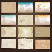 Antieke ansichtkaarten en oud papier — Stockvector