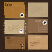 Vintage postcard with coffee design — Stock Vector