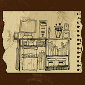 Illustrated interior elements: desktop, notebook, box, book — 图库矢量图片