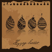 Happy Easter eggs in old background — Stock Vector