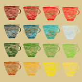 Cup of coffee with old design — Stock Vector