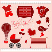 Greeting with a baby elements — Vector de stock