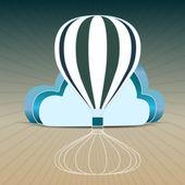 Retro hot air balloon sky background — Stock Vector