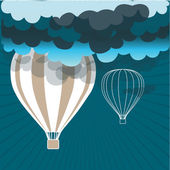 Retro hot air balloon sky background — Stock Vector