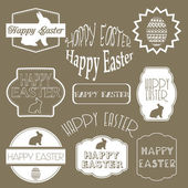 Happy easter vector set: design elements with easter eggs easter — Stock Vector
