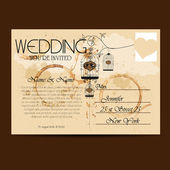 Vintage Wedding Invitation on Postcard — Stock Vector