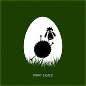 Happy Easter greeting card with egg and rabbit — Stock Vector