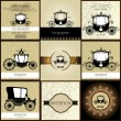 Stock Vector: Set of Vintage car Wedding Invitation