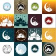 Stock Vector: Set of Vintage Ramadan Kareem background