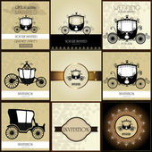 Set of  Vintage car Wedding Invitation — Stock Vector