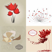Set of  Vintage floral background — Stock Vector