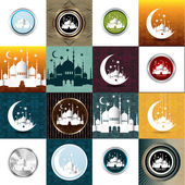 Set of Vintage Ramadan Kareem background — Stok Vektör