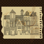 Set of old  hand drawn vintage homes — Stock Vector