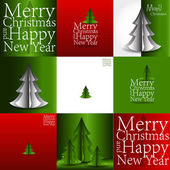 Set of  Merry Christmas and Happy New Year greeting card design. — Stock Vector