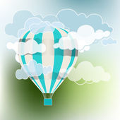 Hot air balloon sky background — Stock Vector