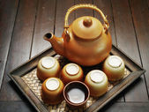 Chinese clay teapot isolated — Стоковое фото