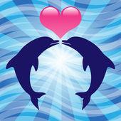 Love dolphins — Cтоковый вектор