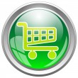 Glossy Shopping Cart Icon Button — Stock Vector