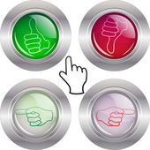 Buttons with Hands — Stock Vector
