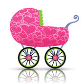 Stroller of hearts for baby — Stock Vector