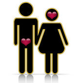 Male-female symbol of love — Vector de stock