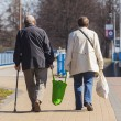 Old Couple Walking with Shopping Bags — Stock Photo